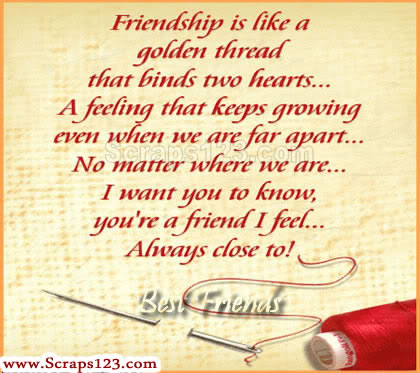 Friendship is Like a Golden Thread that Binds Two hearts